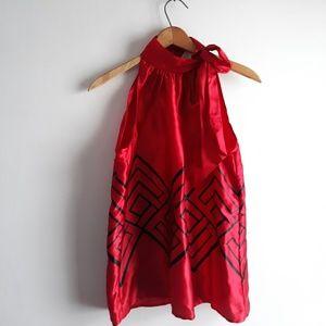 Micheal Kors Red Silk Sleeveless Bow Neck Top 6